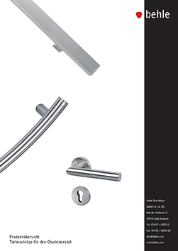 "behle Product overview ""Pull handles for contract sector"""