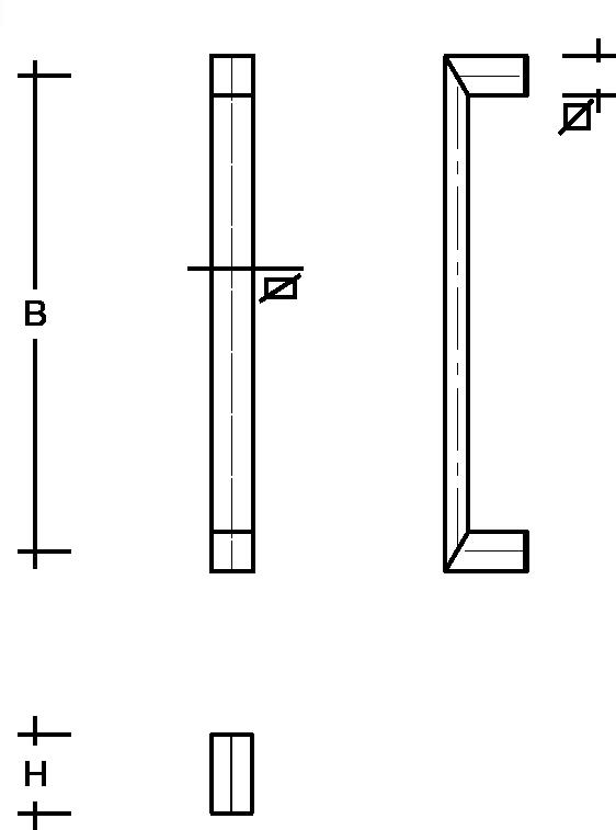 behle Türgriff Griffstange Stoßgriff ES …20 ug aus Edelstahl Griffenden auf Gehrung, Rechteckprofil eckig für Haustüren