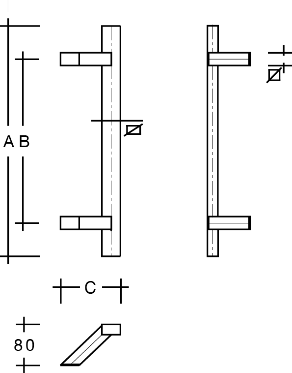 behle Türgriff Griffstange Stoßgriff ES …20.16... aus Edelstahl mit schrägen Stützen, Rechteckprofil eckig für Haustüren
