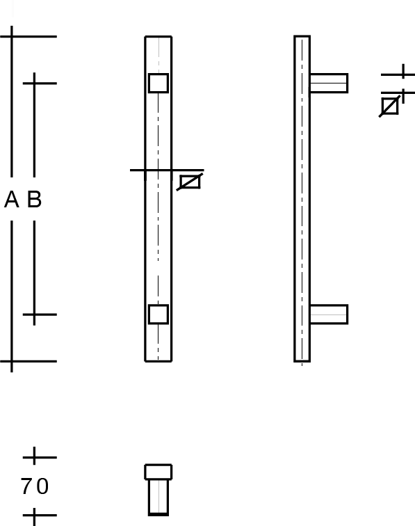behle Türgriff Griffstange Stoßgriff ES …20.17... aus Edelstahl mit geraden Stützen, Rechteckprofil eckig für Haustüren