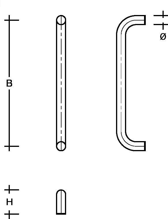 behle Haustürgriff Türgriff Griffstange Stoßgriff / Schutzstange  ES …u aus Edelstahl, Enden gebogen für Haus und Durchgangstüren