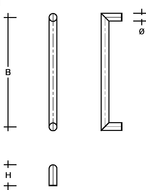 behle Haustürgriff Türgriff Griffstange Stoßgriff / Schutzstange  ES … ug aus Edelstahl, Enden auf Gehrung für Haus und Durchgangstüren