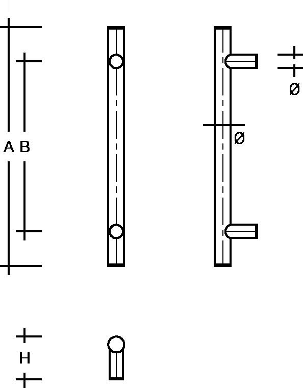 behle Türgriff Griffstange Stoßgriff ES ...1.0 s aus Edelstahl mit geraden Stützen für Haustüren