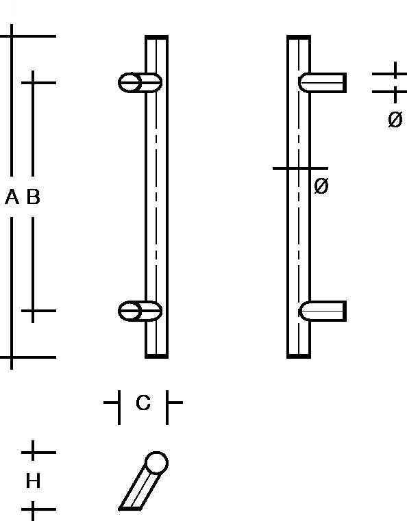 behle Türgriff Griffstange Stoßgriff ES ...2.0 s aus Edelstahl mit 60° schrägen Stützen für Haustüren