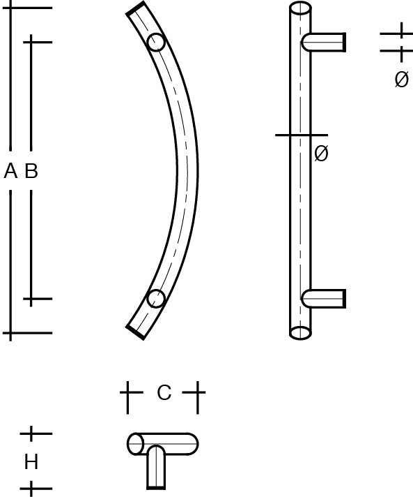 behle Haustürgriff nach Maß Türgriff Griffstange Stoßgriff ES 30.1.0 ksb aus Edelstahl mit geraden Stützen für Haustüren