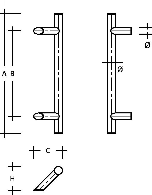 behle Haustürgriff Türgriff Griffstange Stoßgriff ES 30.9.0 s aus Edelstahl mit 45° schrägen Stützen für Haustüren