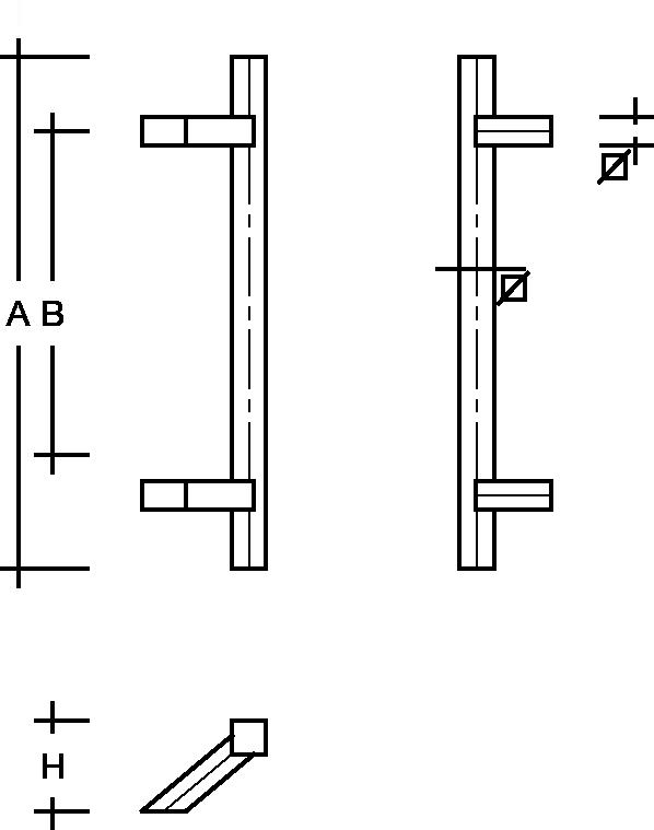 behle Türgriff Griffstange Stoßgriff ES 3030.16.0 s aus Edelstahl mit schrägen Stützen, Quadratprofil eckig für Haustüren