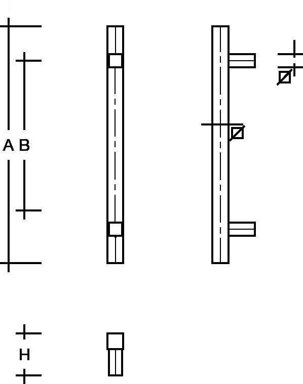 behle Haustürgriff Türgriff Griffstange Stoßgriff ES 3030.17.0 s aus Edelstahl mit geraden Stützen für Haustüren