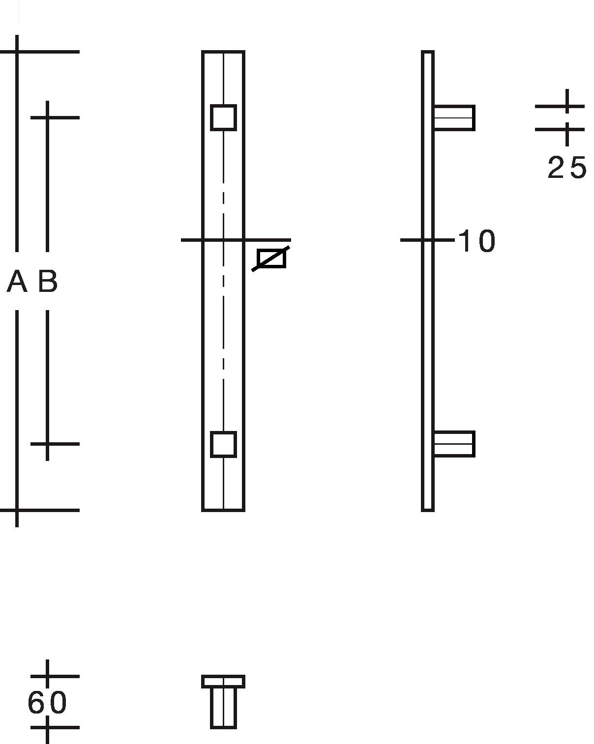 behle Haustürgriff Türgriff Griffstange Stoßgriff ES 4010.17... aus Edelstahl mit geraden Stützen für Haustüren