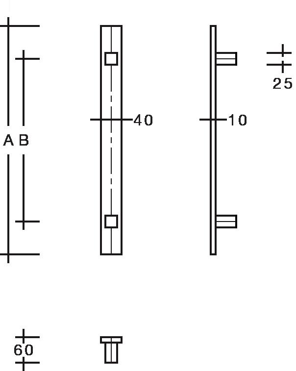 behle Türgriff Griffstange Stoßgriff ES 4010.17... aus Edelstahl mit geraden Stützen, Flachprofil eckig für Haustüren