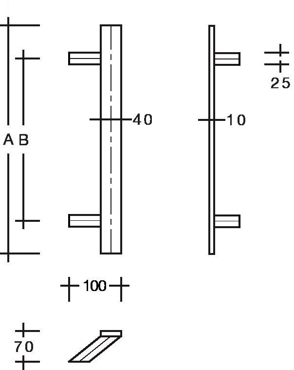 behle Türgriff Griffstange Stoßgriff ES 4010.18... aus Edelstahl mit schrägen Stützen, Flachprofil eckig für Haustüren