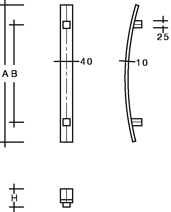 behle Türgriff Griffstange Stoßgriff ES 4010... b aus Edelstahl, mit geraden Stützen, Flachprofil eckig für Haustüren