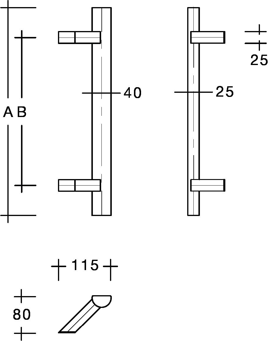 behle Haustürgriff Türgriff Griffstange Stoßgriff Rechteckprofil ES 4025.16.0 s aus Edelstahl mit schrägen Stützen für Haustür