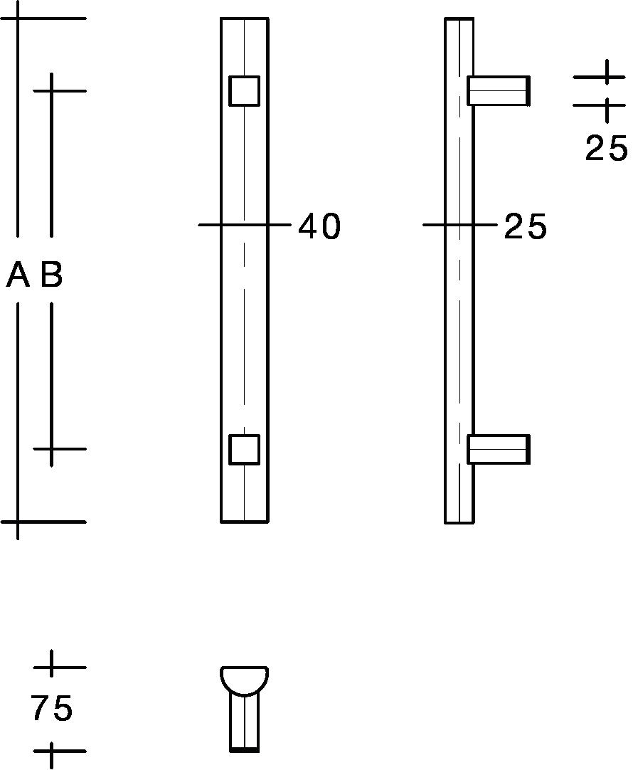 behle Haustürgriff Türgriff Griffstange Stoßgriff Rechteckprofil ES 4025.17.0 s aus Edelstahl mit geraden Stützen für Haustür