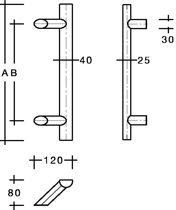 behle Haustürgriff Türgriff Griffstange Stoßgriff Rechteckprofil ES 3520.16.0 s aus Edelstahl mit schrägen Stützen für Haustür