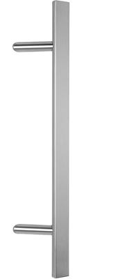 behle Haustürgriff Türgriff Griffstange Stoßgriff Halbrundprofil ES 4025.9 aus Edelstahl mit schrägen Stützen für Haustür