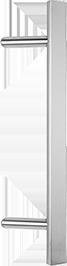 behle Haustürgriff Edelstahl Türgriff Edelstahl Stoßgriff Edelstahl Haustürgriff Halbrundprofil Türgriff Halbrundprofil Stoßgriff Halbrundprofil ES 4025.9... mit 45° schrägen Stützen für Haustüren